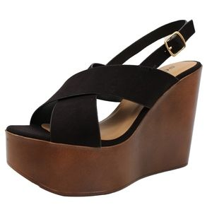 Shoes - Black Criss Cross Slingback Faux Wooden Wedge